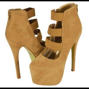 Shoes - Tan Sexy Platform Heels